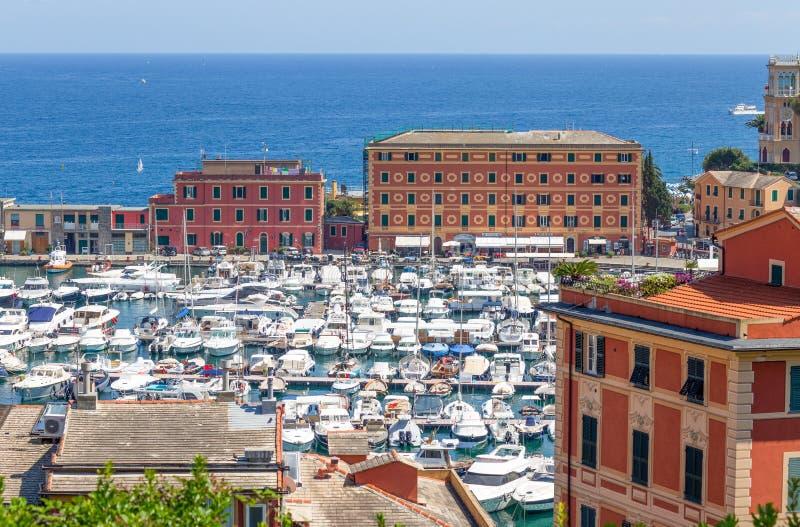 Взгляд порта ligure Санты Margherita, провинции Генуи, Ligurian riviera, Италии стоковая фотография