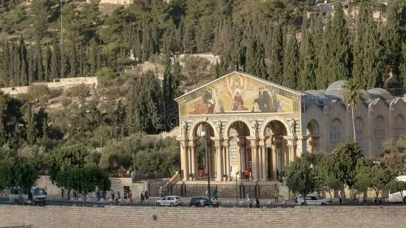 Взгляд после полудня церков всех наций в Иерусалиме стоковые изображения