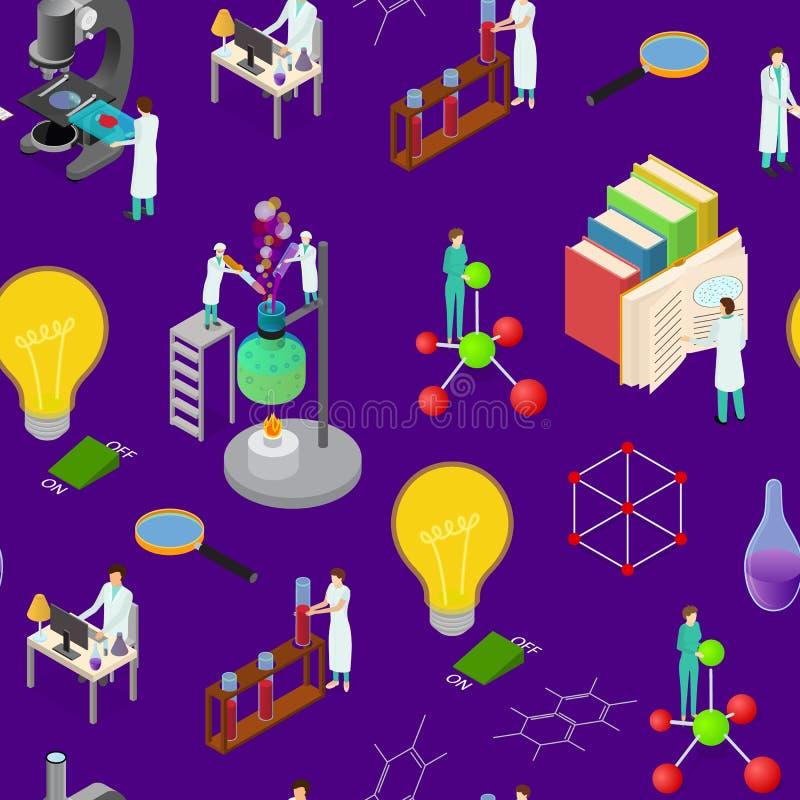 Взгляд предпосылки 3d картины химической фармацевтической концепции науки безшовный равновеликий вектор иллюстрация штока