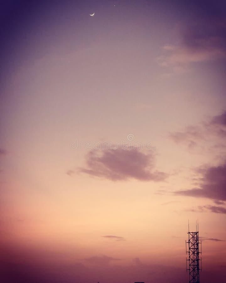 Взгляд природы неба пинка облака блеска луны стоковое изображение rf