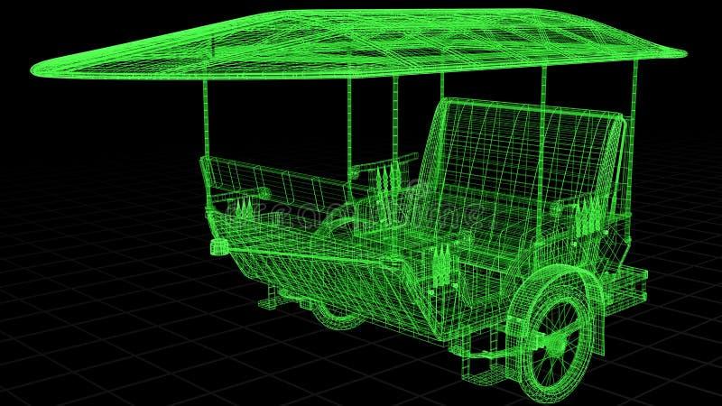 взгляд Провод-рамки Tuk Tuk в Азии полно 3D представил стоковое фото rf