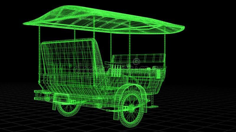 взгляд Провод-рамки Tuk Tuk в Азии полно 3D представил стоковая фотография