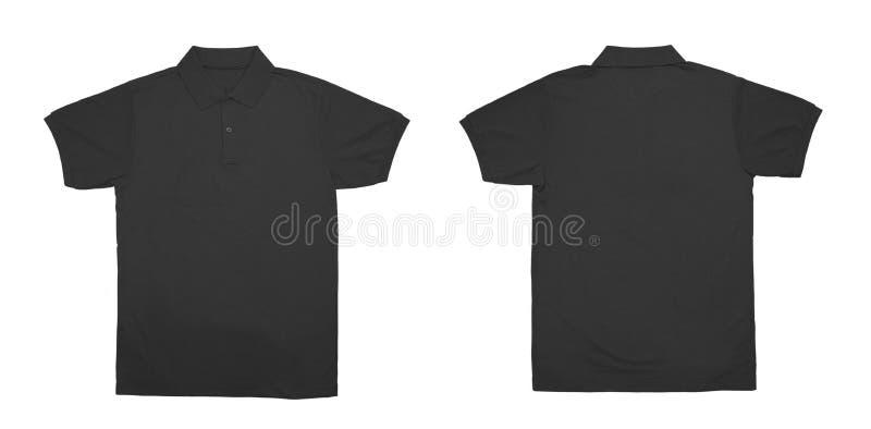 Взгляд пустой черноты цвета рубашки поло передний и задний стоковое изображение rf