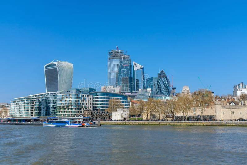 Взгляд района Лондона финансового стоковое изображение rf