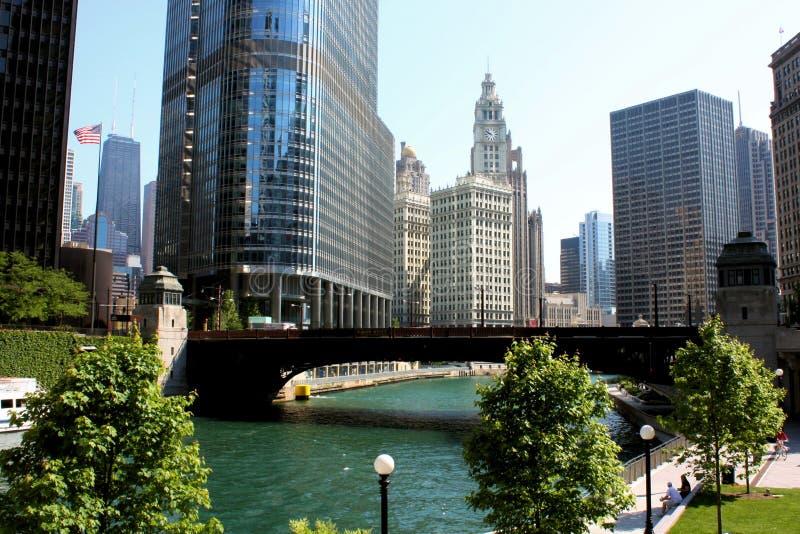 взгляд реки города chicago стоковые изображения rf