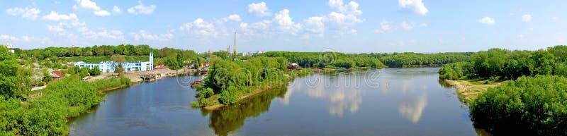 взгляд реки desna панорамный стоковая фотография rf