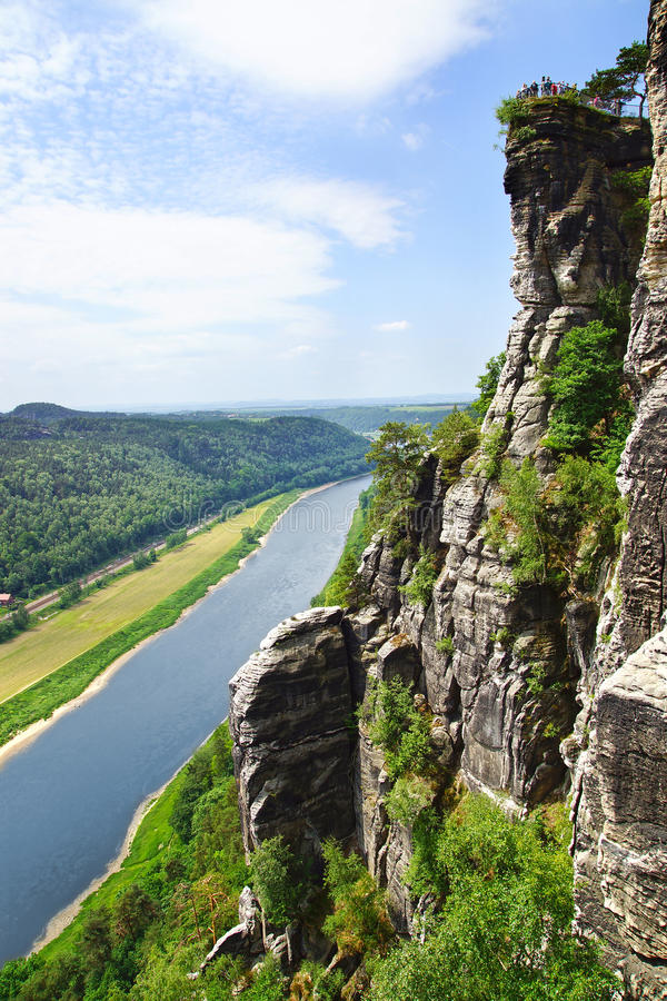 взгляд реки elbe Германии bastei стоковые фотографии rf