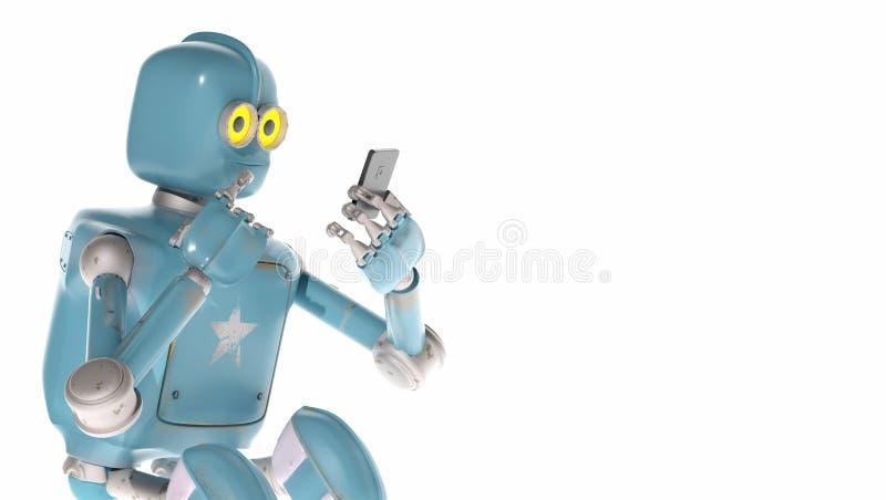 Взгляд робота Grunge винтажный на сотовом телефоне перевод 3d иллюстрация штока