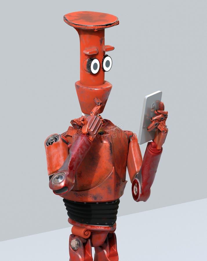 Взгляд робота Grunge винтажный на сотовом телефоне перевод 3d иллюстрация вектора