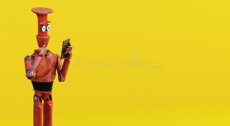 Взгляд робота Grunge винтажный на сотовом телефоне перевод 3d бесплатная иллюстрация