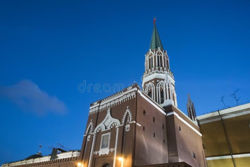взгляд России ночи kremlin moscow Россия стоковое фото