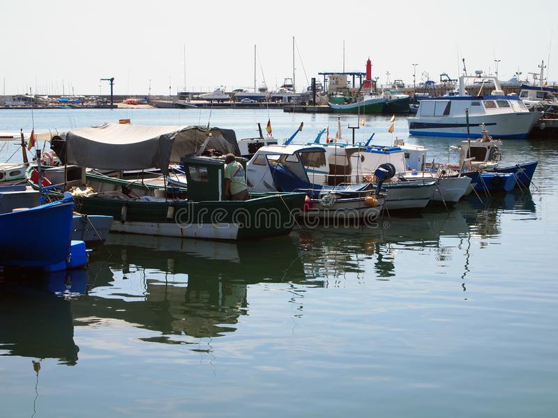 Взгляд рыбного порта Cambrils стоковое изображение