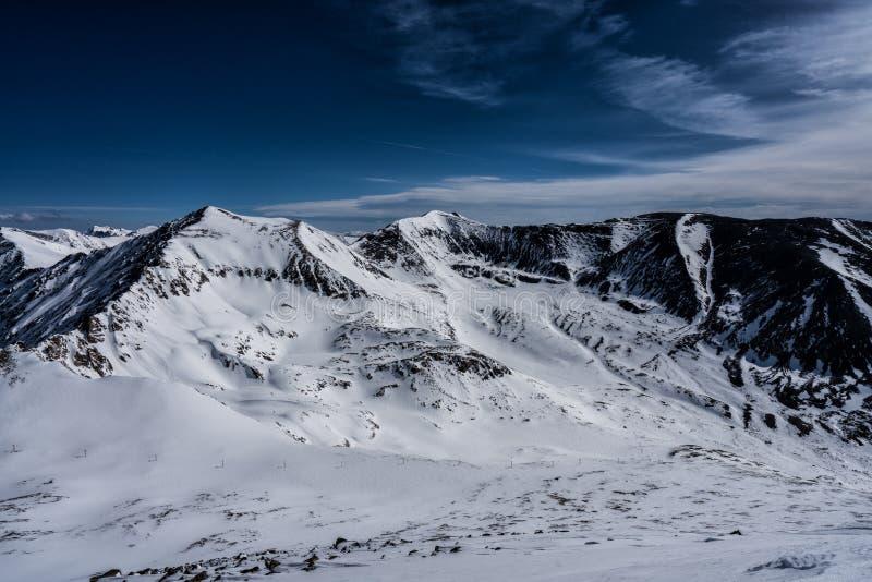 Взгляд саммита зимы от Mt Лосиная кожа, горы Колорадо скалистые стоковые изображения rf