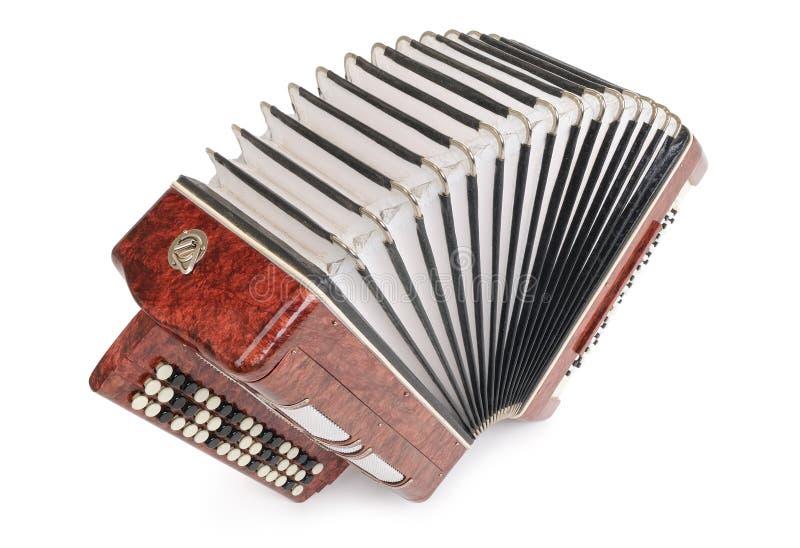 взгляд сверху аккордеони bayan коричневый изолированный стоковая фотография rf