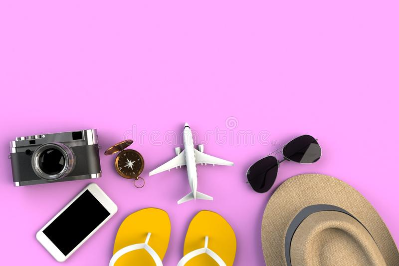 Взгляд сверху аксессуаров на розовой предпосылке таблицы, необходимых деталей путешественника каникул, концепции перемещения стоковые фотографии rf