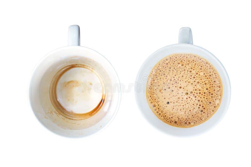 Взгляд сверху белых чашек кофе стоковые фотографии rf