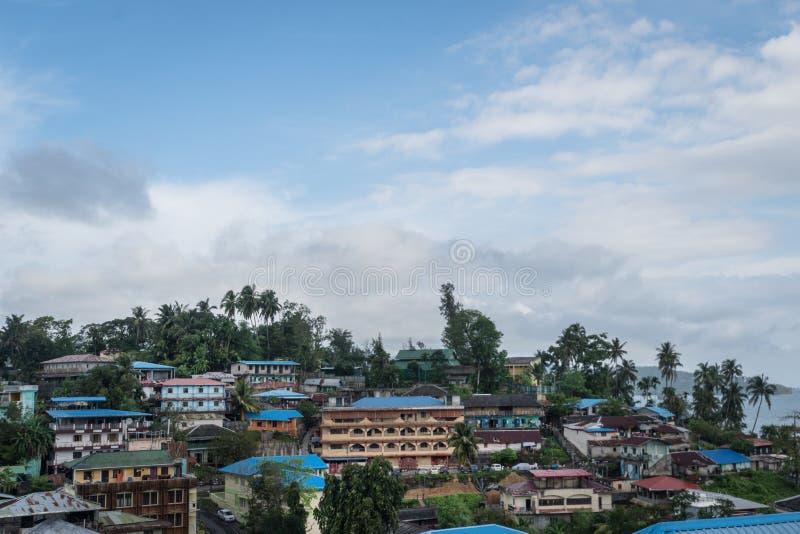 Взгляд сверху города Port Blair, малый городок острова в Юго-Восточной Азии стоковое фото rf