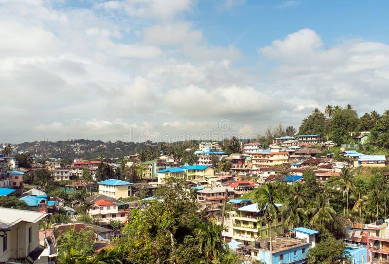 Взгляд сверху города Port Blair, малый городок острова в Юго-Восточной Азии стоковое фото