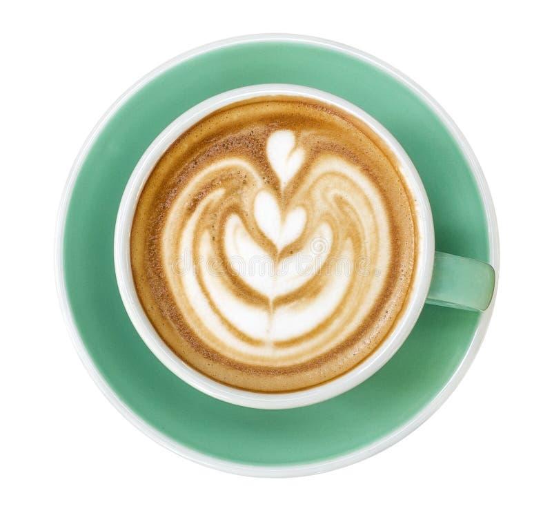 Взгляд сверху горячего искусства latte капучино кофе в чашке цвета нефрита изолированной на белой предпосылке, пути стоковое фото rf
