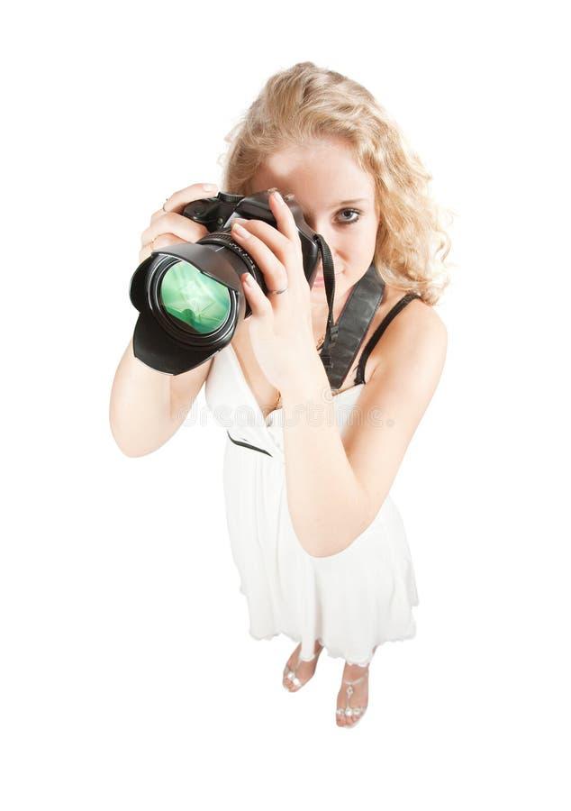 взгляд сверху девушки камеры стоковые фотографии rf