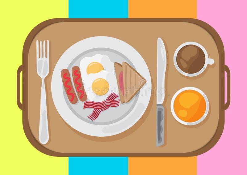 Взгляд сверху дизайна набора завтрака плоский r r иллюстрация вектора