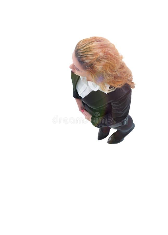 взгляд сверху женщина дела самомоднейшая изолировано стоковая фотография rf