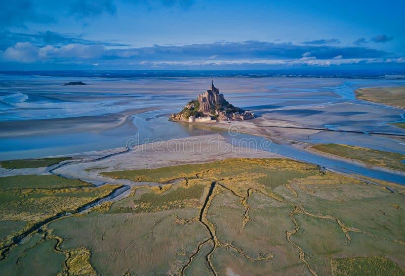 Взгляд сверху залива Мишеля Святого Mont, Нормандия Франция стоковые фото