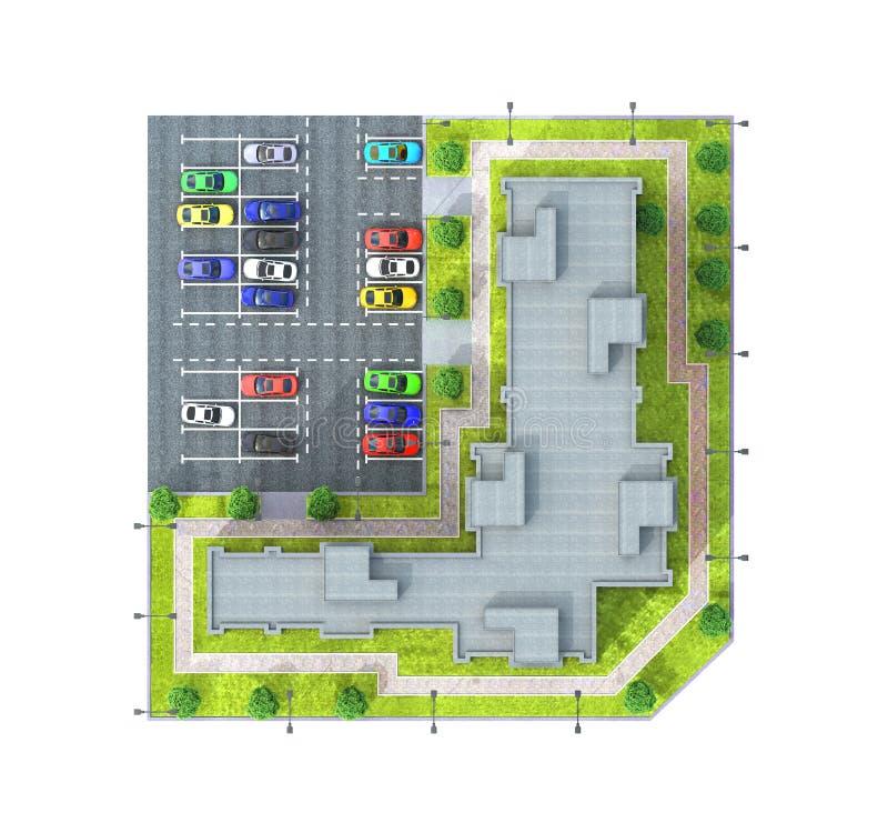 Взгляд сверху квартиры с полностью открытой стоянкой, автомобилями и зелеными деревьями многоэтажного жилого дома на заходе солнц бесплатная иллюстрация