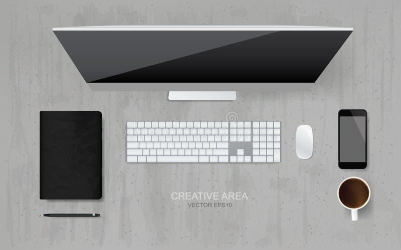 Взгляд сверху компьютера с объектом офиса установило в зону рабочей зоны иллюстрация вектора