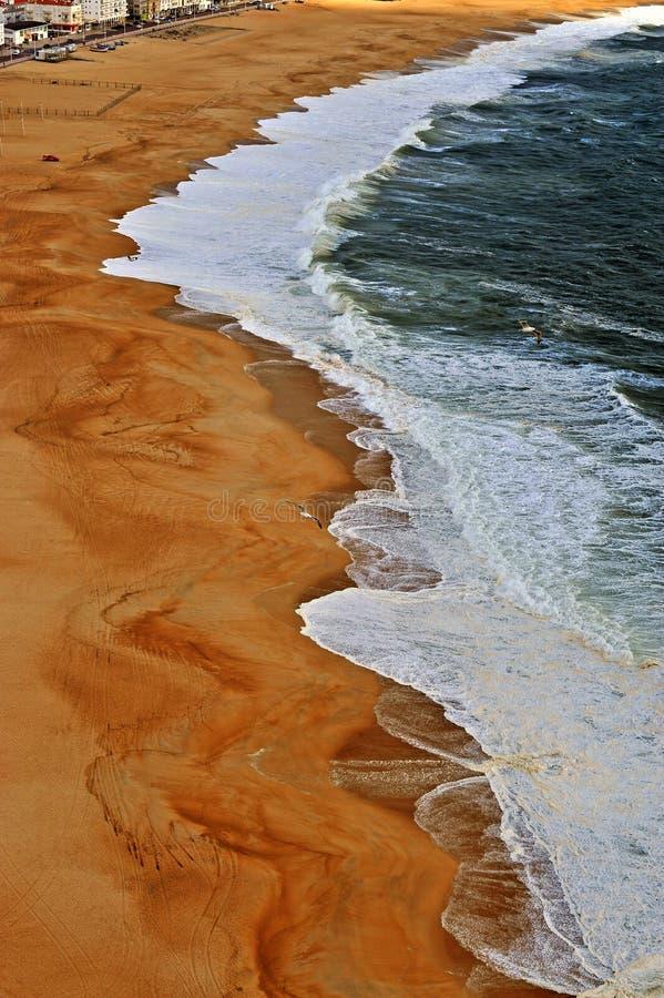 Взгляд сверху красивого пляжа Nazare стоковое фото rf