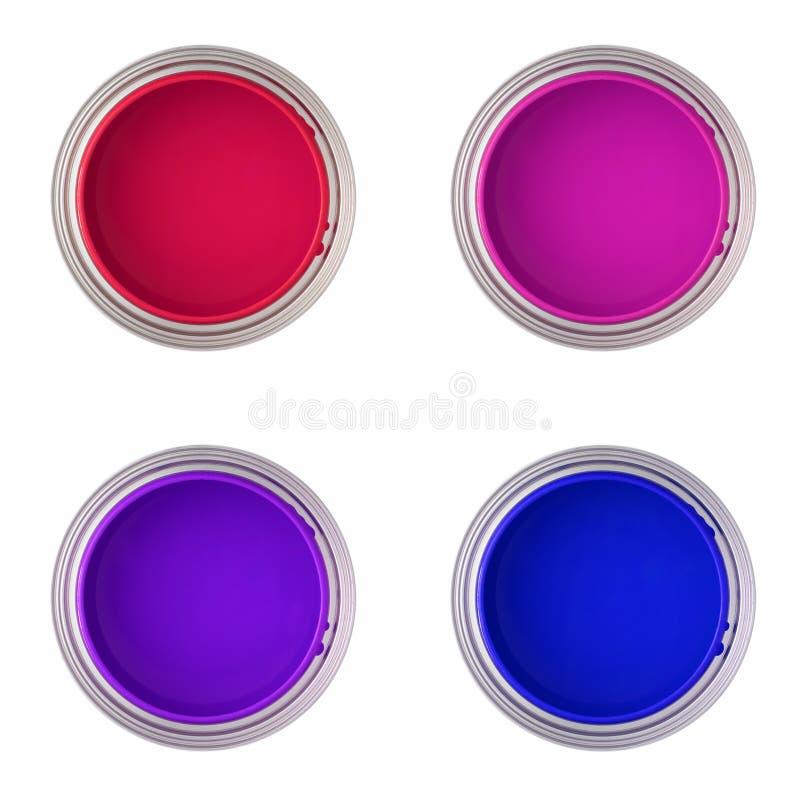 взгляд сверху краски чонсервных банк иллюстрация штока