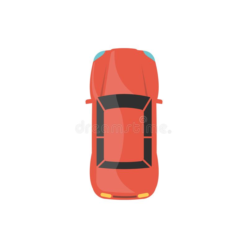 Взгляд сверху красной спортивной машины плоская иллюстрация вектора корабля города изолировала иллюстрация вектора