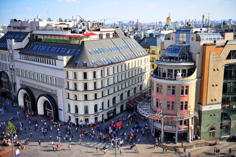 Взгляд сверху метро Lubyanka и улицы Nikolskaya стоковое фото rf