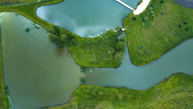 Взгляд сверху много озер воздушного фотографирования трутня стоковое фото rf