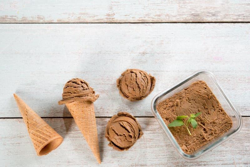 Взгляд сверху мороженого какао стоковая фотография