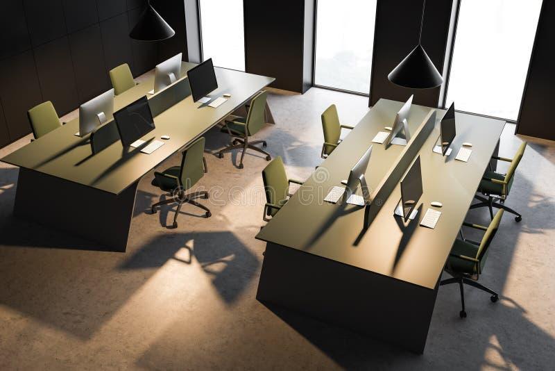 Взгляд сверху офиса открытого пространства зеленой таблицы иллюстрация вектора