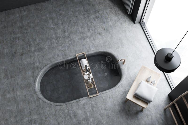 Взгляд сверху первоначально ванной комнаты внутреннее, ушат в поле иллюстрация вектора