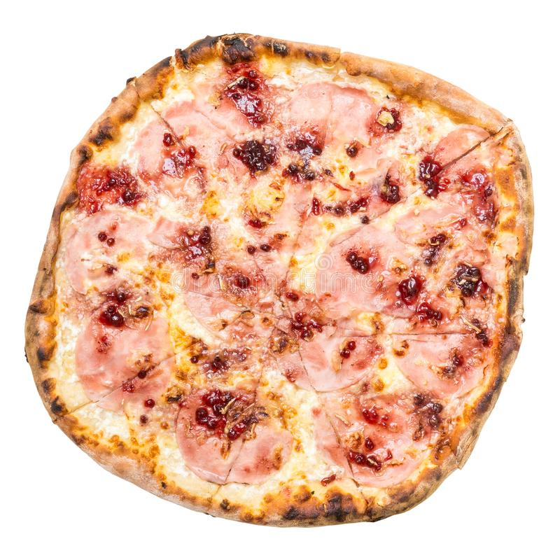 Взгляд сверху пиццы La Scala изолированное на белизне стоковое изображение rf