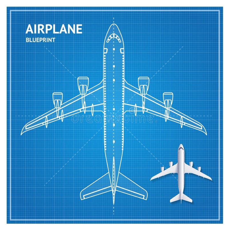 Взгляд сверху плана светокопии самолета вектор иллюстрация штока