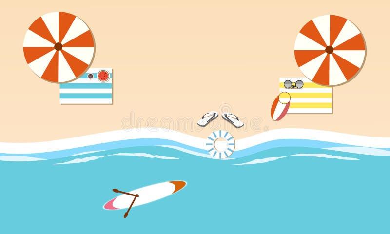 Взгляд сверху пляжа острова летом Дизайн иллюстрации вектора плоский r иллюстрация вектора