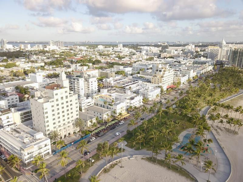 Взгляд сверху привода океана Южный пляж Майами стоковая фотография rf