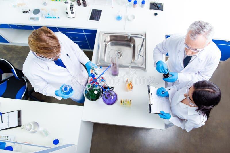 Взгляд сверху работы команды 3 ученых, делая испытывает с che стоковые изображения