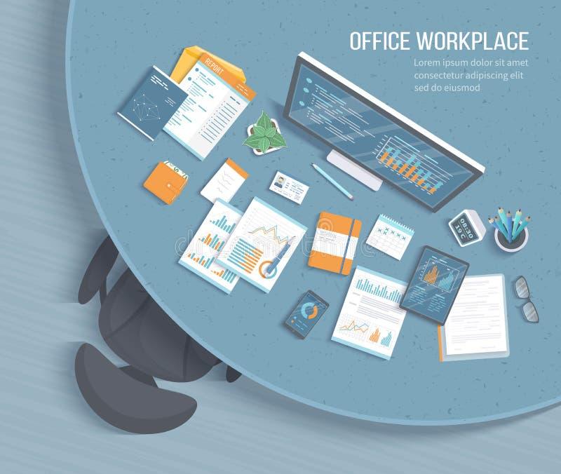 Взгляд сверху рабочего места офиса с круглым столом, креслом, канцелярские товарами Диаграммы, графики на таблетке экрана монитор иллюстрация вектора