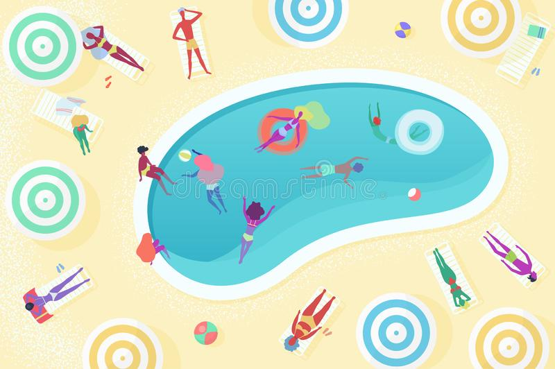 Взгляд сверху различных женских и мужских людей ослабляя около бассейна, загорающ, плавать, играя, подныривание, имеющ остатки иллюстрация штока