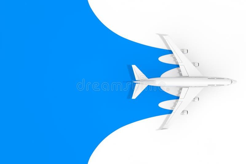 Взгляд сверху самолета белого пассажира двигателя с пустым пространством для вашей насмешки дизайна вверх на голубой предпосылке  стоковые изображения rf