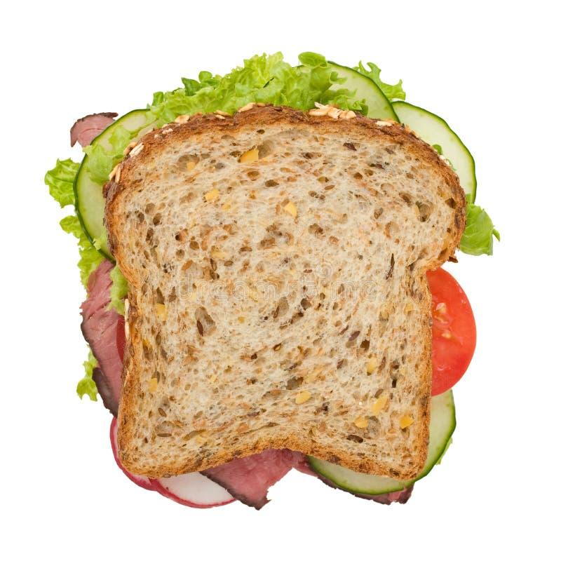 взгляд сверху сандвича жаркого говядины стоковые изображения