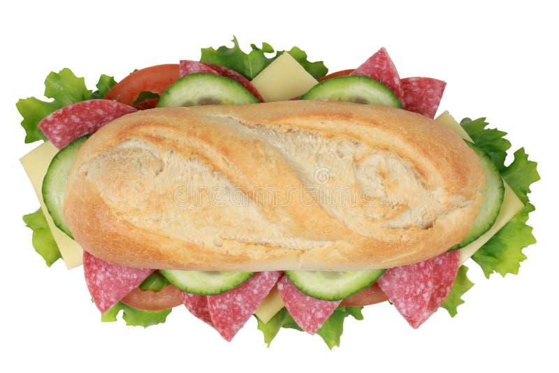Взгляд сверху сандвича с pepperoni стоковая фотография rf