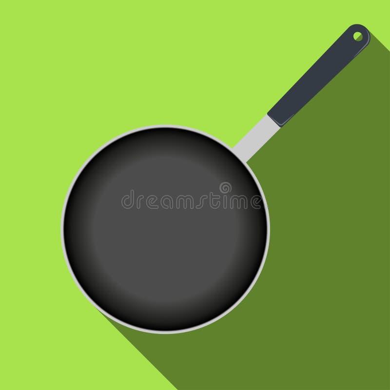 Взгляд сверху сковороды, значок с длинной тенью также вектор иллюстрации притяжки corel иллюстрация штока