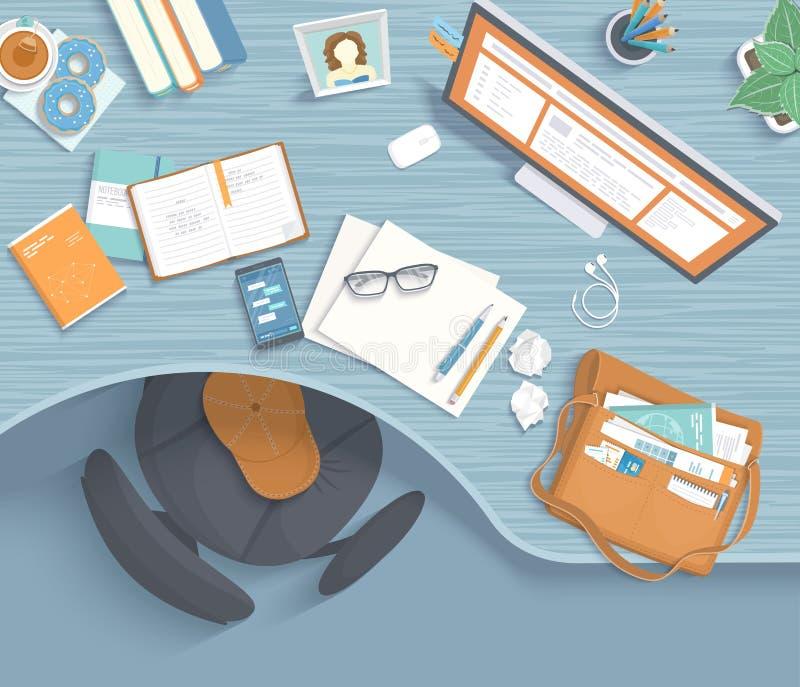 Взгляд сверху современного и стильного рабочего места Деревянный стол, стул, канцелярские товары, монитор, книги, чай, donuts, су иллюстрация штока