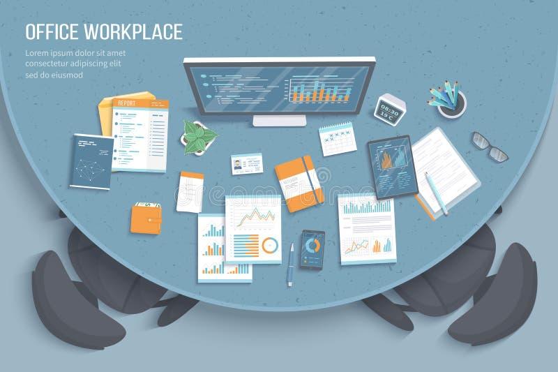 Взгляд сверху современного стильного круглого стола в офисе, креслах, канцелярские товарах, документах Диаграммы, графики на экра иллюстрация вектора
